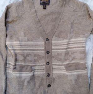 Pendleton button up v-neck beige striped cardigan